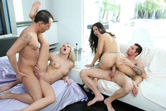 two horny couples fucking hard